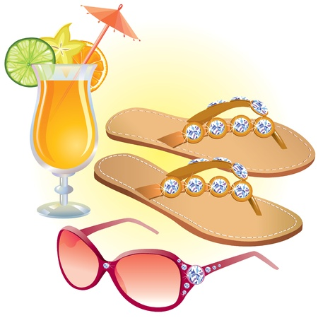 Beach accessories Vector