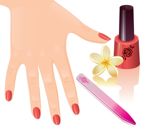 The beautiful female hand, nail polish, nail file. Stock Vector - 13283462