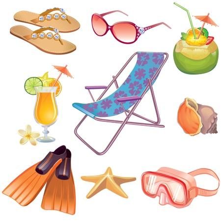 caracolas de mar: Las vacaciones de verano Travel Icon Set