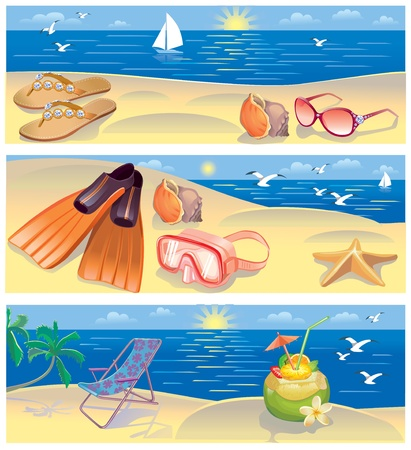 sky dive: Beach vacation banners