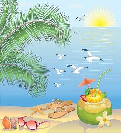 coconut drink: Summer beach landscape Illustration