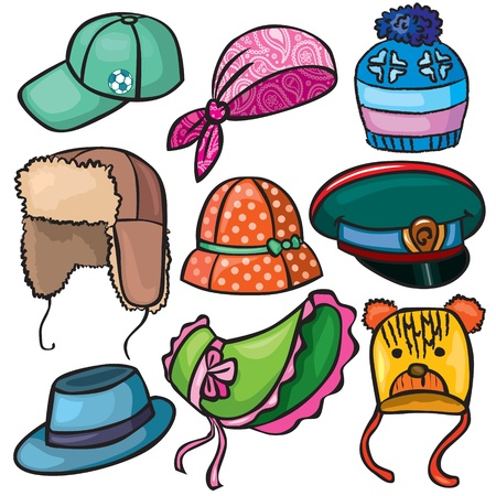bonnet illustration: Headwear set of icons