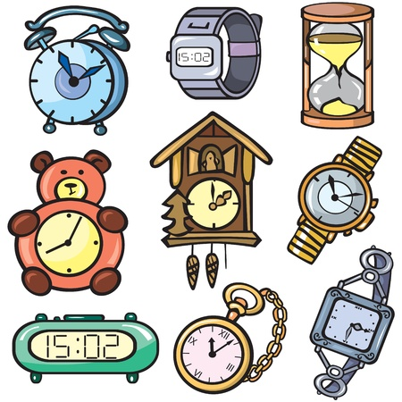 ringing: Watches and clock icons set