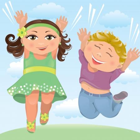 Jumping children Illustration