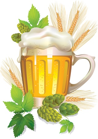 Glass of barley beer with foam Stock Vector - 13849544