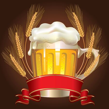 ear drop: Glass of wheat beer Illustration