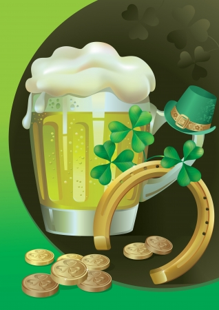 St  Patrick s day with Green Beer and symbols of this holiday Vector