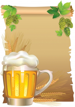 Vintage beer background with old paper, ears and hops  Vector