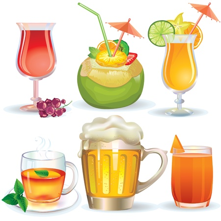 Illustration of drinks, juices and alcoholic beverages Vector