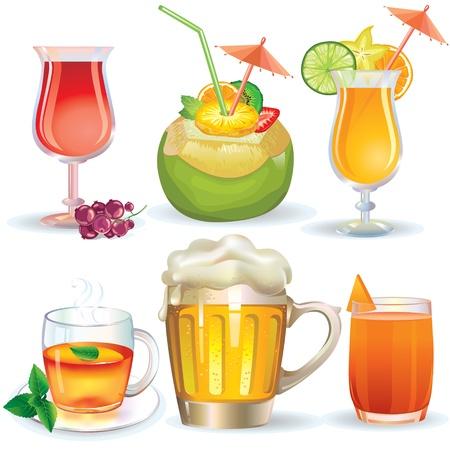 bebidas alcoh�licas: Ilustraci�n de bebidas, jugos y bebidas alcoh�licas
