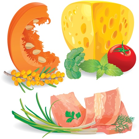carotene: Set of healthy vitamin food with cheese, meat and  vegetables Illustration