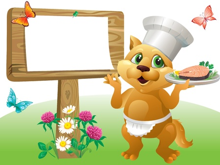 clover buttons: Cartoon illustration of cat chef  Color gradient used linear,radial  No blend and gradient mesh  Illustration