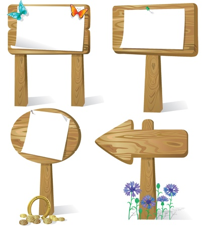 Cartoon illustration of sign board wood Vector