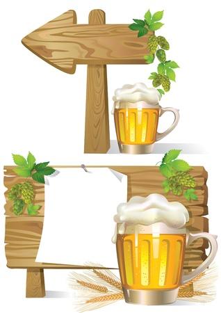 Cartoon illustration of Beer wooden board sign