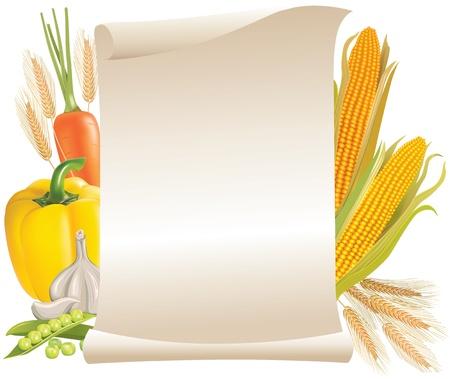 elote: Cosecha de cereales y vegetales desplazarse signo Vectores