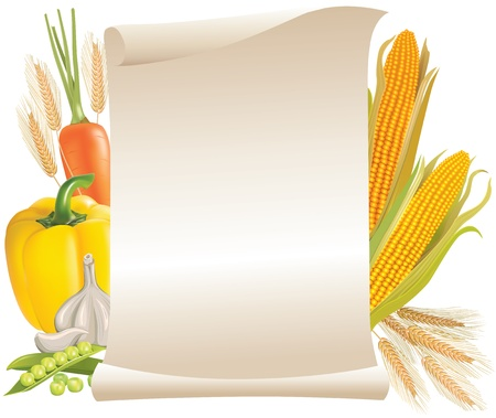 garlic bread: Harvest cereals and vegetable scroll sign Illustration