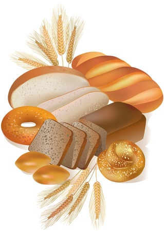 baking bread: Bread and bakery products Illustration