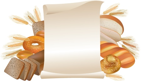 rye bread: Bread and bakery products scroll sign Illustration
