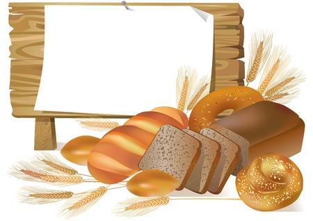 Illustratie van brood met houten plank.