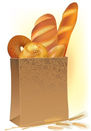 Illustration of a paper bag with fresh bread and ears