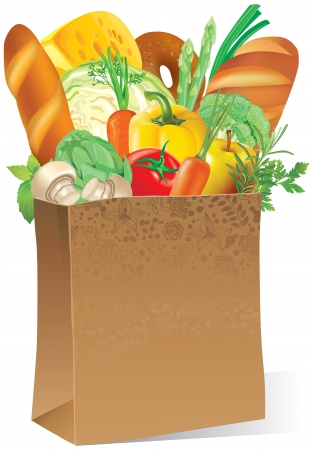 Illustration of paper bag with food