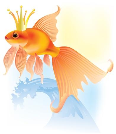 Illustration de fée poisson d'or dans la couronne
