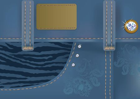 jeans skirt: Illustration of glamorous blue jeans with label.