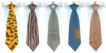 Illustration of fashion for men of different styles of ties Vector