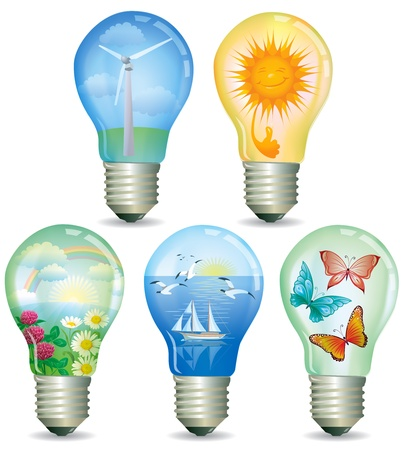 Illustration of ecological light bulbs with nature inside Stock Vector - 14369885
