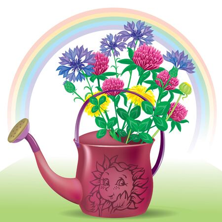 garden cornflowers: Illustration of the watering can with a bouquet of flowers in the meadow