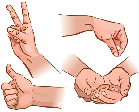 body parts: Set of hand gestures from different angles Illustration