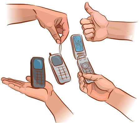 Hands with a mobile phone from various angles Vector