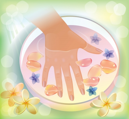 Illustration of spa treatments for hands. Illustration contains transparent object Stock Vector - 14457522
