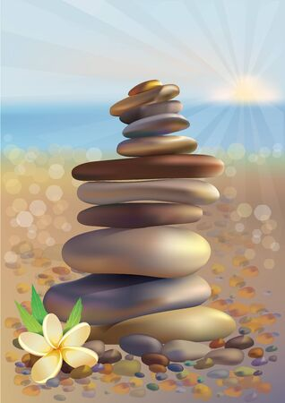 pebbles: Spa stones and a white flower on the beach.  Illustration contains transparent object