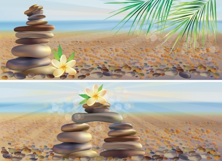 Spa stones and a white flower on the beach.  Illustration contains transparent object. Vector