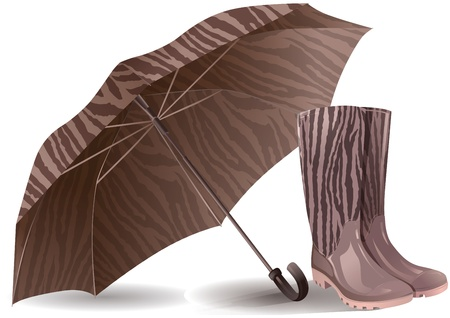 Illustration of umbrella and rubber boots. Contains transparent object.  Vector
