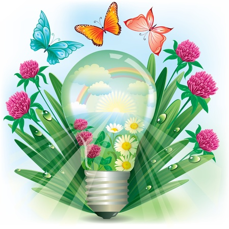 Lamp with nature inside in the grass and butterflies flying around.Contains transparent object.  Vector