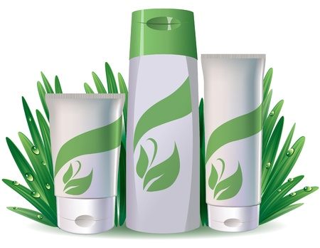 wholesome: Tubes of cosmetics on the fresh grass.Contains transparent object.