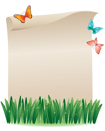 Paper scroll in the grass and butterflies around.Contains transparent object. EPS 10. Illustration