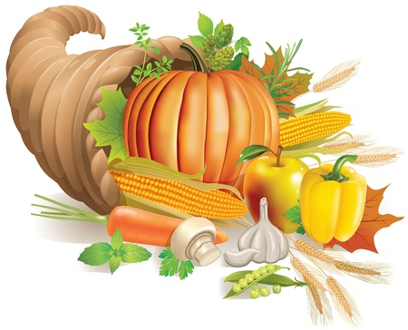 Thanksgiving horn of plenty filled with harvest.Contains transparent object.  Иллюстрация