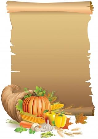 cuernos: Retro de Acci�n de Gracias de fondo con el papel viejo y cuerno de la abundancia. Contiene objeto transparente. Vectores