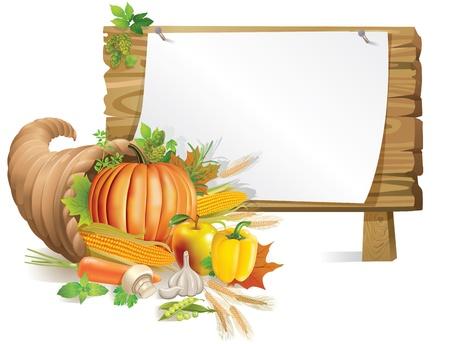 cuerno de la abundancia: Ilustraci�n de la tabla de madera Thanksgiving.Contains objeto transparente.