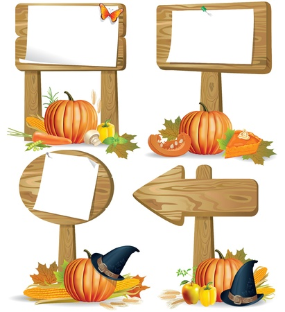 Wooden signs of various forms of the day of Thanksgiving and Harvest.Contains transparent object.  Vector
