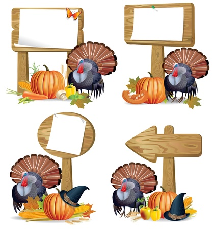 Thanksgiving turkey wooden sign board.Contains transparent objects Vector