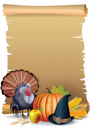 thanksgiving turkey: Retro background Thanksgiving turkey, pumpkin hat  It contains transparent objects EPS 10