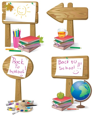 School wooden board sign.Contains transparent object. EPS 10. Vector