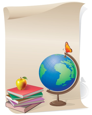 Paper scroll with a book and globe.Contains transparent object. EPS 10. Vector