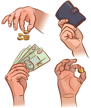 Set of hands with money. EPS 8. Stock Vector - 14645132