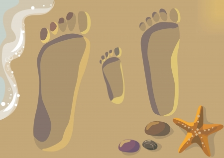 Illustration of footprints in the sand- parents and the child.Contains transparent object. EPS 10. Vector