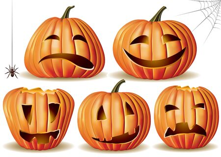 Halloween pumpkin set. Contains transparent object. EPS 10. Vector